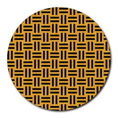 Woven1 Black Marble & Orange Colored Pencil (r) Round Mousepads by trendistuff