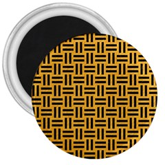Woven1 Black Marble & Orange Colored Pencil (r) 3  Magnets by trendistuff