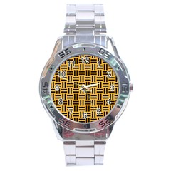Woven1 Black Marble & Orange Colored Pencil (r) Stainless Steel Analogue Watch by trendistuff