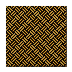 Woven2 Black Marble & Orange Colored Pencil Tile Coasters by trendistuff