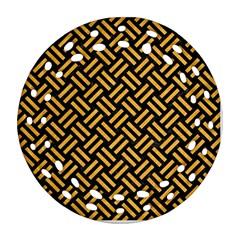 Woven2 Black Marble & Orange Colored Pencil Ornament (round Filigree) by trendistuff
