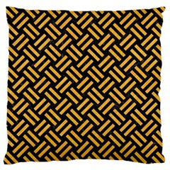 Woven2 Black Marble & Orange Colored Pencil Large Cushion Case (two Sides) by trendistuff