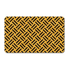 Woven2 Black Marble & Orange Colored Pencil (r) Magnet (rectangular) by trendistuff
