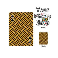 Woven2 Black Marble & Orange Colored Pencil (r) Playing Cards 54 (mini)  by trendistuff