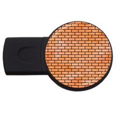 Brick1 Black Marble & Orange Watercolor Usb Flash Drive Round (2 Gb) by trendistuff