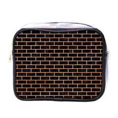 Brick1 Black Marble & Orange Watercolor (r) Mini Toiletries Bags by trendistuff