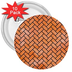 Brick2 Black Marble & Orange Watercolor 3  Buttons (10 Pack)  by trendistuff