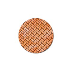 Brick2 Black Marble & Orange Watercolor Golf Ball Marker (4 Pack) by trendistuff