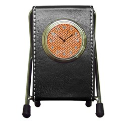 Brick2 Black Marble & Orange Watercolor Pen Holder Desk Clocks by trendistuff