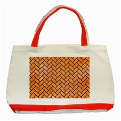 Brick2 Black Marble & Orange Watercolor Classic Tote Bag (red) by trendistuff
