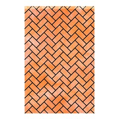 Brick2 Black Marble & Orange Watercolor Shower Curtain 48  X 72  (small)  by trendistuff