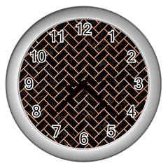 Brick2 Black Marble & Orange Watercolor (r) Wall Clocks (silver)  by trendistuff