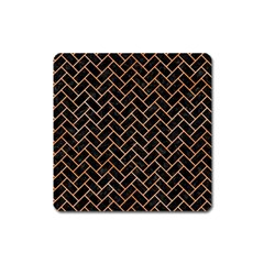 Brick2 Black Marble & Orange Watercolor (r) Square Magnet by trendistuff