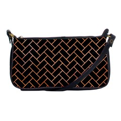 Brick2 Black Marble & Orange Watercolor (r) Shoulder Clutch Bags by trendistuff