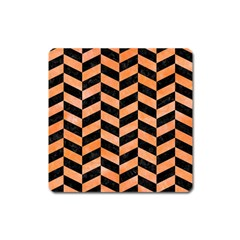 Chevron1 Black Marble & Orange Watercolor Square Magnet by trendistuff