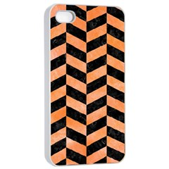 Chevron1 Black Marble & Orange Watercolor Apple Iphone 4/4s Seamless Case (white) by trendistuff
