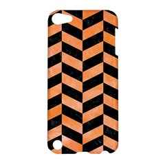 Chevron1 Black Marble & Orange Watercolor Apple Ipod Touch 5 Hardshell Case by trendistuff