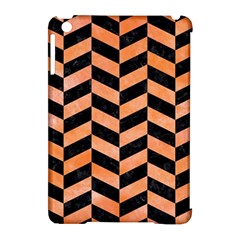 Chevron1 Black Marble & Orange Watercolor Apple Ipad Mini Hardshell Case (compatible With Smart Cover) by trendistuff