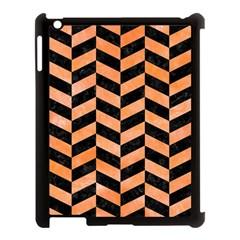 Chevron1 Black Marble & Orange Watercolor Apple Ipad 3/4 Case (black) by trendistuff