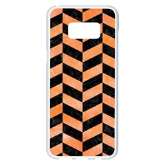 Chevron1 Black Marble & Orange Watercolor Samsung Galaxy S8 Plus White Seamless Case by trendistuff