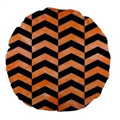 Chevron2 Black Marble & Orange Watercolor Large 18  Premium Flano Round Cushions by trendistuff