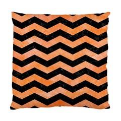 Chevron3 Black Marble & Orange Watercolor Standard Cushion Case (two Sides) by trendistuff
