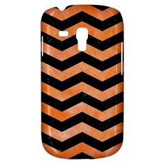 Chevron3 Black Marble & Orange Watercolor Galaxy S3 Mini by trendistuff