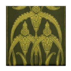Green Floral Art Nouveau Face Towel by 8fugoso