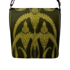 Green Floral Art Nouveau Flap Messenger Bag (l)  by 8fugoso