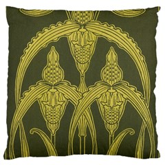 Green Floral Art Nouveau Large Flano Cushion Case (one Side) by 8fugoso