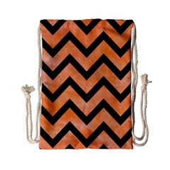 Chevron9 Black Marble & Orange Watercolor Drawstring Bag (small) by trendistuff