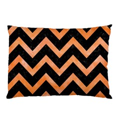 Chevron9 Black Marble & Orange Watercolor (r) Pillow Case (two Sides) by trendistuff