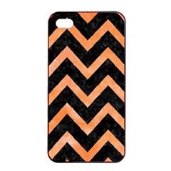 Chevron9 Black Marble & Orange Watercolor (r) Apple Iphone 4/4s Seamless Case (black) by trendistuff
