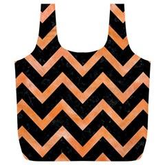 Chevron9 Black Marble & Orange Watercolor (r) Full Print Recycle Bags (l)