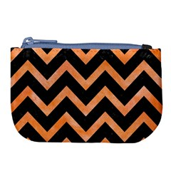 Chevron9 Black Marble & Orange Watercolor (r) Large Coin Purse by trendistuff