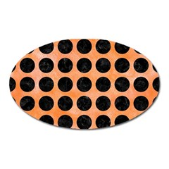 Circles1 Black Marble & Orange Watercolor Oval Magnet by trendistuff