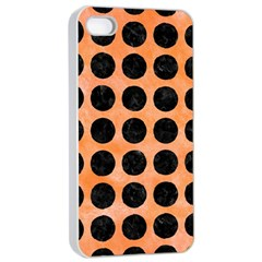 Circles1 Black Marble & Orange Watercolor Apple Iphone 4/4s Seamless Case (white) by trendistuff