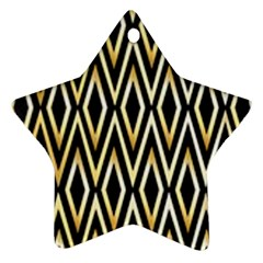 Gold,black,art Deco Pattern Star Ornament (two Sides) by 8fugoso