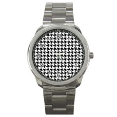 Classic Vintage Black And White Houndstooth Pattern Sport Metal Watch by Beachlux