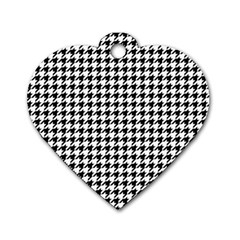 Classic Vintage Black And White Houndstooth Pattern Dog Tag Heart (two Sides) by Beachlux