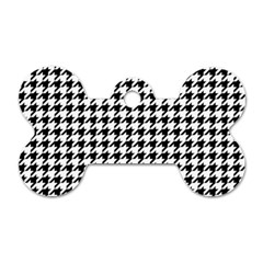 Classic Vintage Black And White Houndstooth Pattern Dog Tag Bone (one Side) by Beachlux