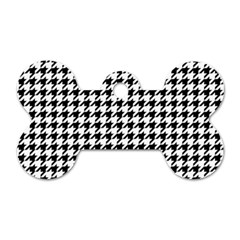 Classic Vintage Black And White Houndstooth Pattern Dog Tag Bone (two Sides) by Beachlux