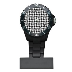Classic Vintage Black And White Houndstooth Pattern Plastic Nurses Watch by Beachlux