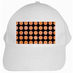 Circles1 Black Marble & Orange Watercolor (r) White Cap by trendistuff