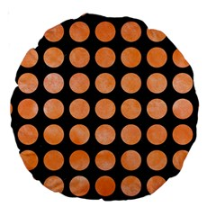 Circles1 Black Marble & Orange Watercolor (r) Large 18  Premium Round Cushions by trendistuff
