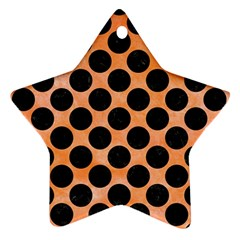 Circles2 Black Marble & Orange Watercolor Star Ornament (two Sides) by trendistuff