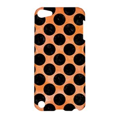 Circles2 Black Marble & Orange Watercolor Apple Ipod Touch 5 Hardshell Case by trendistuff