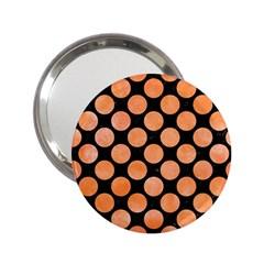 Circles2 Black Marble & Orange Watercolor (r) 2 25  Handbag Mirrors by trendistuff