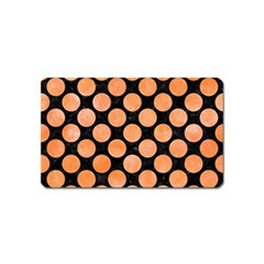 Circles2 Black Marble & Orange Watercolor (r) Magnet (name Card) by trendistuff