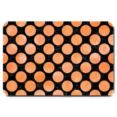 Circles2 Black Marble & Orange Watercolor (r) Large Doormat  by trendistuff